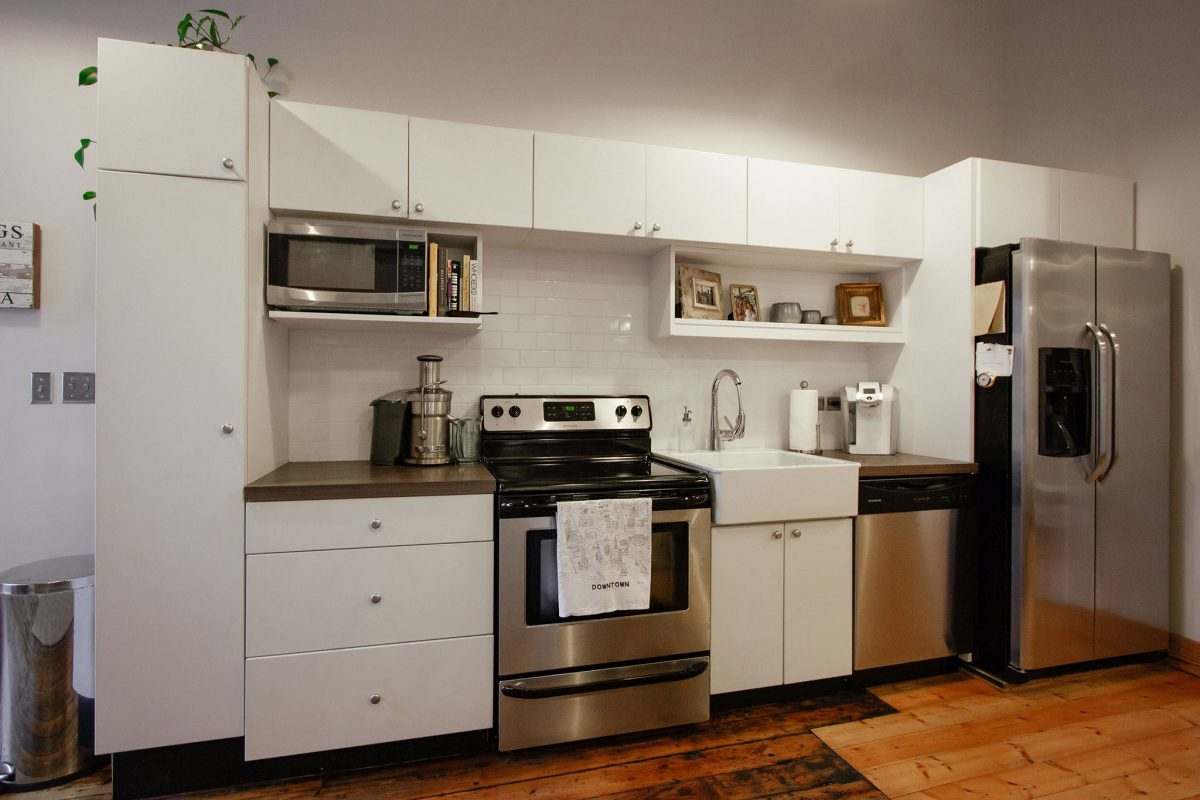 Apartment kitchen at the Armature Building